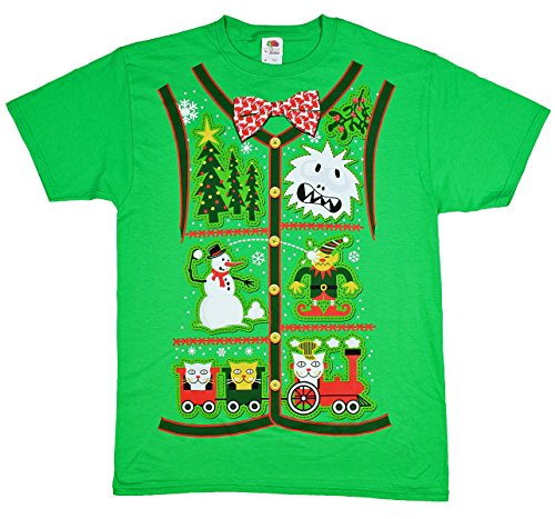 - Ugly Christmas Sweater Vest Design Green Graphic T-Shirt - 2XL