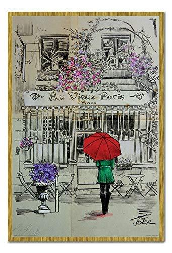 Amazon.com: Loui Jover Au Vieux Paris Poster Oak Framed ...