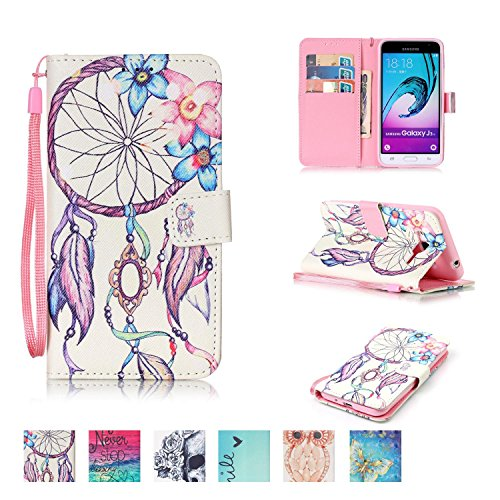 Synthetic Shell Leather (Galaxy J3 2015 Case, Firefish [Card Slots] [Kickstand] Flip Folio Wallet Case Synthetic Leather Shell Scratch Resistant Protective Cover for Samsung Galaxy J3 2015)