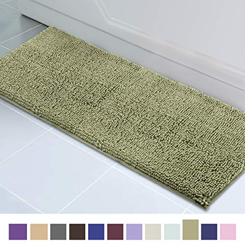 (ITSOFT Non-Slip Shaggy Chenille Soft Microfibers Bathroom Rug with Water Absorbent, Machine Washable, 21 x 59 Inch Sage Green)