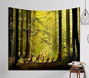 Tagesdecke Wandteppich Wand Kopfteil Bett Wohnwagen Fonds Flammig Photocall  Camping Unico Und Einzigartige Wald Und