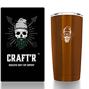 20oz, Vacuum Insulated cup, Stainless steel, Craft Beer, (Amber)