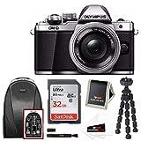 Olympus OM-D E-M10 Mark II Mirrorless Camera w/ 14-42mm Lens (Silver) & 32GB SD Travel Set