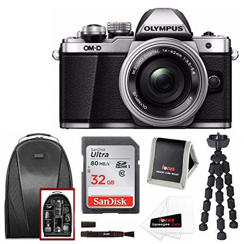 Olympus OM-D E-M10 Mark II Mirrorless Camera w/ 14-42mm Lens (Silver) & 32GB SD Travel Set by Focus Camera