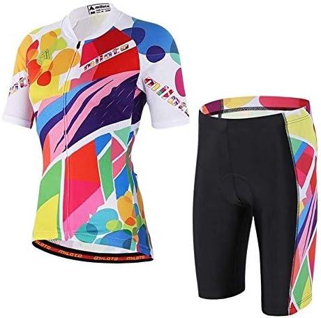 新しい夏の屋外サイクリング半袖通気性スリムレディースジャケットジャージースーツ