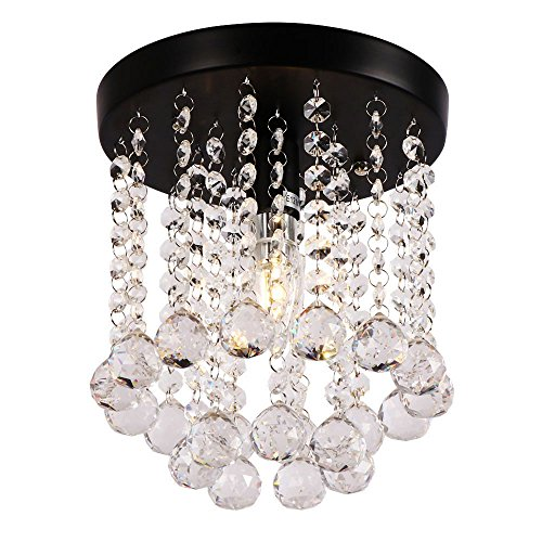 AncientHome Mini Iron Crystal Chandelier, Modern Vintage Flush Mount Ceiling Lighting Fixture for Bedroom, Hallway, Bar, Kitchen, Bathroom, Black