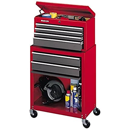 Stack On SC 600 6 Drawer Chest/Cabinet Combo, Red