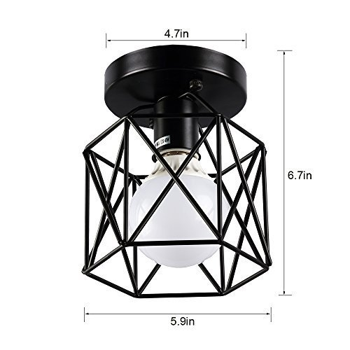 Create for Life Retro Vintage Industrial Mini Painting Metal Rustic Flush Mount Ceiling Light Pendant Light for Hallway by Create for Life (Image #6)