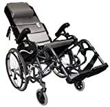 Karman Healthcare VIP515-18-E Foldable Tilt in Space, Diamond Black, 20 Inches Rear Wheels and Elevating Legrests and 18 Inches Seat Width