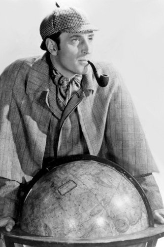 Basil Rathbone classic pose over globe smoking pipe 11x17 Mini Poster ()