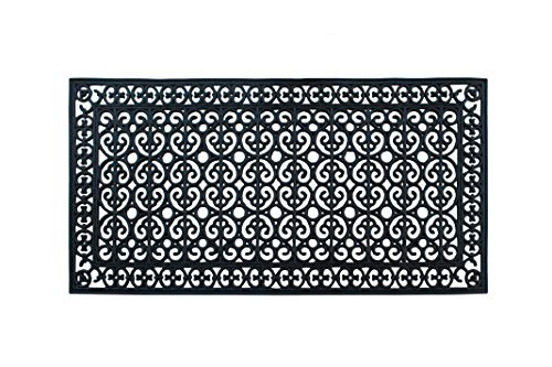 A1 Home Collections A1HCCL67-30 x60 Doormat A1HC First Impression Rubber Paisley, Beautifully Hand Finished,Thick, 30X60 Black Artistic 30