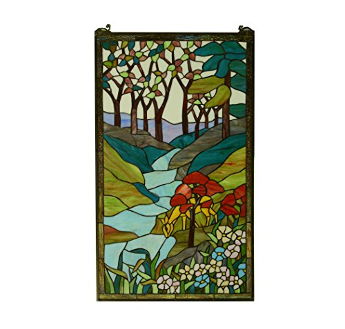(TMI Tiffany Style stained glass window panel deer drinking water, 20