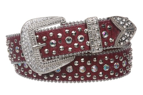 Snap On Western Cowgirl Alligator Rhinestone Studded Leather Belt Size: M/L - 38