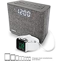 iHome iBT232 Bluetooth Dual Alarm FM Clock Radio with Speakerphone and USB Charging (Gray)