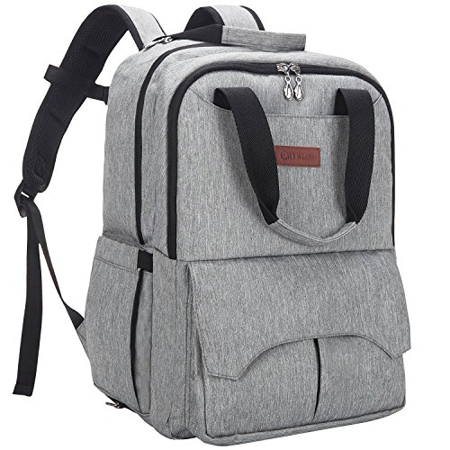 HYBLOM Diaper Bag Backpack Multi-function Stylish Comfortable Nappy Bag Organizer Travel Insulated Pockets, Mommy Backpack With Baby Stroller Straps Changing Pad For Mom Dad, Grey