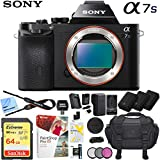 Sony a7s Full-Frame Alpha Mirrorless Digital Camera 12.2MP (Black) Body Only ILCE-7S/B with Triple Battery Case 64GB Memory Card Deluxe Pro Bundle