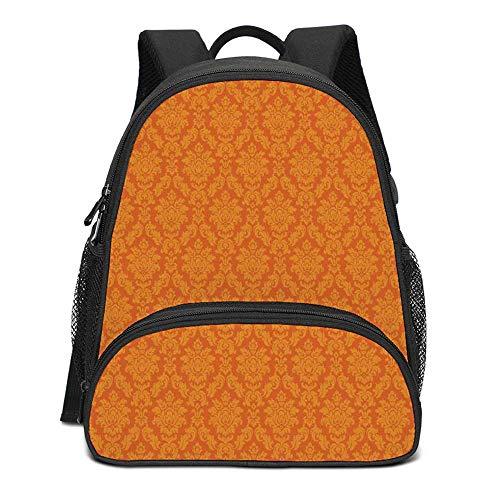 Burnt Orange Durable Kids Backpack,Classic Baroque Venetian Random Patterns with Antique Decorative Floral Leaves Home Decorative for School Travel,10