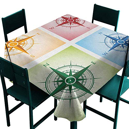 Warm Family Compass Elegance Engineered Tablecloth Colorful Compasses Windrose Finding Directions Discovery Directions Pathfinding Indoor Outdoor Camping Picnic W63 x L63 ()