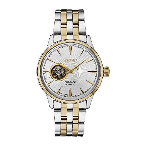 Men's Presage Automatic Cocktail Time White Dial Two-Tone Dress Watch - Model - Seiko SSA358