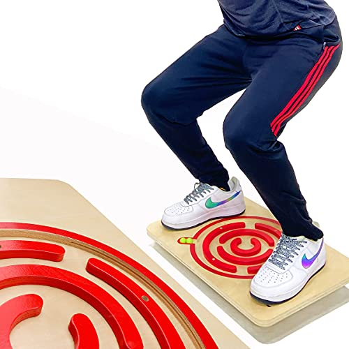PUREFI Maze Balance Board Wooden Rolling Ball,Strengthen core Rocker Board,Physical Therapy Rocker Trainer Under Standing Desk,Office Home Games Board,Promotes Posture Exerciser.