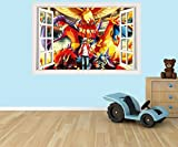 Pokemon 3D effect window in wall vinyl sticker - suitable for Kids Bedroom walls, doors and glass windows. (Extra Large 80 x 53cm) by PPS