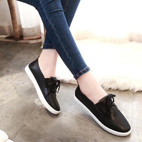 Ularma Zapatos de las mujeres, Mocasines de cuero ocasionales de pisos blandos negro