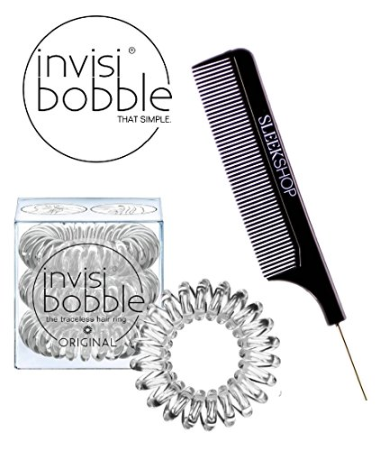 Invisibobble ORIGINAL CLEAR The Traceless Hair Ring (3 rings), (with Sleek Steel Pin Tail Comb) (ORIGINAL, CLEAR) by invisibobble