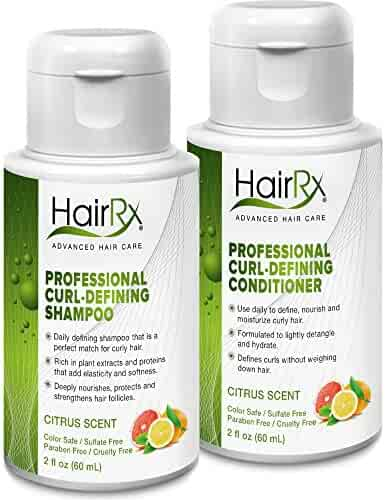 HairRx Professional Curl-Defining Shampoo & Conditioner Travel Set, Luxurious Lather, Citrus Scent, 2 Ounce Bottles