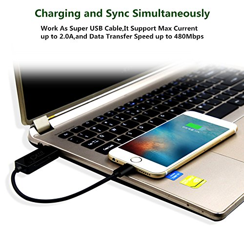 Gufee SD TF Micro Card Reader with Lightning to USB Connector, Fast Charging Cable, External Storage Memory Expansion for iPhone/iPad/Mac/PC (Black) by Gufee (Image #3)