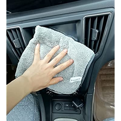 KinHwa Microfiber Car Drying Towels Super Absorbent Car Wash Cloths Scratch Free Car Cleaning Towels Ultra Soft Auto Detailing Towels 380gsm(16Inch x 16Inch, greyx6): Automotive