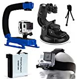 Professional Action Movie Stabilizer Grip (Blue) + Car Suction Cup Window Dash Dashboard Mount + AHDBT401 AHDBT-401 Battery + Head Helmet Front Strap for GoPro HERO4 Hero 4 Black Silver