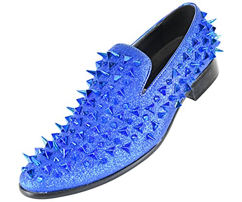 Bolano The Original Men's Glitter Faux Suede Spiked and Studded Smoking Slipper, Slip On Dress Shoe Blue