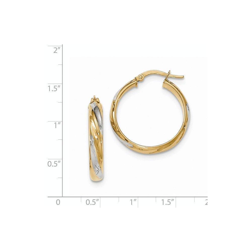 Mia Diamonds 14k Yellow Gold and Rhodium Polished 4.1mm Hoop Earrings