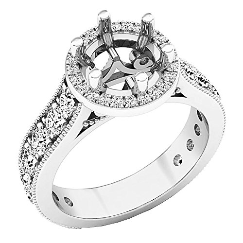 Sterling Silver Round Cubic Zirconia CZ Vintage Semi Mount Ring (No Center Stone) (Size (Mount 925 Silver Ring Setting)