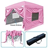 Quictent 2018 Upgraded Privacy 10x10 EZ Pop Up Canopy Party Tent Folding Gazebo with Mesh Windows and Sidewalls 100% Waterproof (Pink)