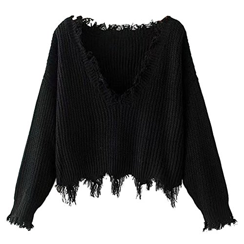 ZAFUL Women's Loose Long Sleeve V-Neck Ripped Pullover Knit Sweater Crop Top (Black)