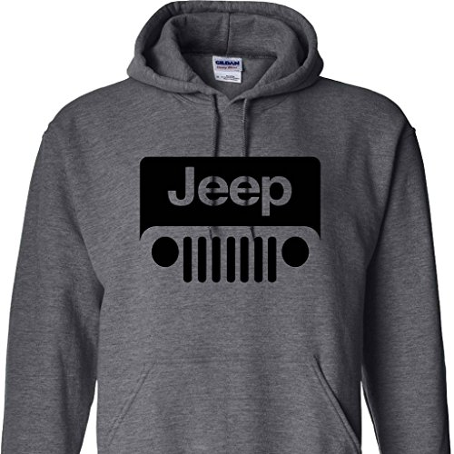 Jeep Wrabgler Logo On A Dark Heather Hoodie