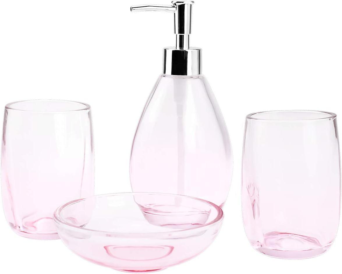 8-Piece Housewares Clear Glass Bathroom Accessories Set, Complete Bath  Ensemble Sets for Bathroom Decor Includes Soap Dispenser Pump, Toothbrush