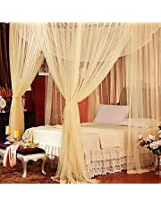 Lighting-Time 4 Corners Bed Canopy Twin Full Queen King Mosquito Net (King, White)