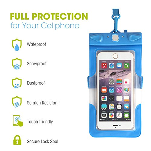 """iMagitek Cellphone Waterproof Case Dry Bag Pouch for iPhone 7 7 Plus 6s 6 Plus, SE 5s 5c 5, Galaxy s8 s7 s6 edge, Note 5 4, LG G6 G5,HTC 10,Sony Nokia, Up to 6.3"""" Devices - 2 Pack"""