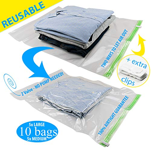 REUSABLE Packing Bags for Travel 5 Large, 5 Medium No Need Pump or Vacuum (Vacuum Sealed Storage)