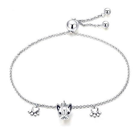 fb231407455 Amazon.com: LLCOFFGA 925 Sterling Silver French Bulldog Bracelet Women,  Fashion Animal Charm Bracelets Dog Platinum Plated Jewelry Accessories,  22cm, Best ...