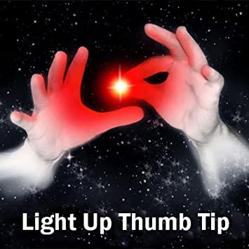 Set of 2 Magic Rubber Thumb Tip Light Up RED Flash Lights from Anywhere Finger Tricks