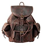 Paonies Women Men Vintage Genuine Leather Backpack Travel School Bags Causal Daypacks