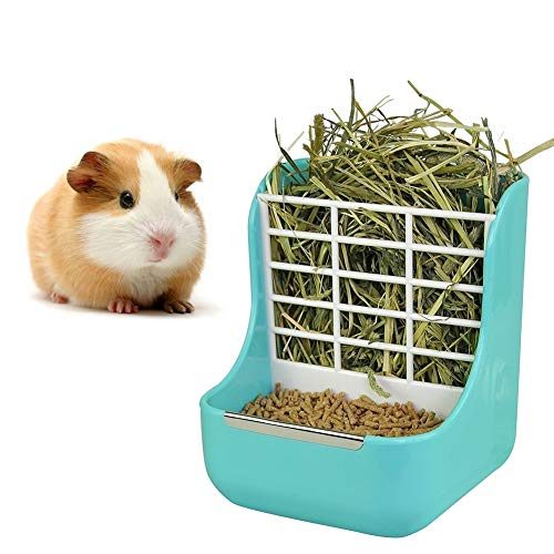 (sxbest 2 in 1 Food Hay Feeder for Guinea Pig,Rabbit,Indoor Hay Feeder for Guinea Pig,Rabbit, Chinchilla,Feeder Bowls Use for Grass & Food)