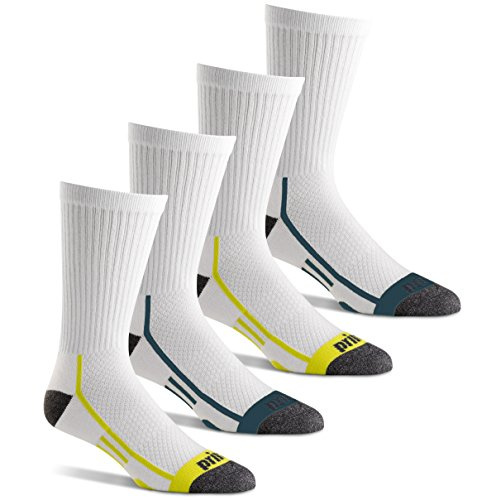 Prince Men's Performance Plus Crew Athletic Socks with Coolmax Moisture Wicking for Running, Tennis, and Casual Use (4 Pair Pack) - White