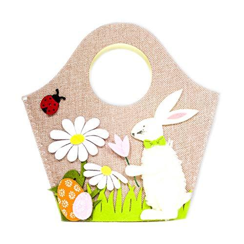 ICCQ Easter Bunny Egg Basket—Nordic Style Vintage Easter Handbag Colorful Non-Woven Felt Storage Bag (A#)