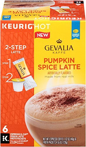 GEVALIA Pumpkin Spice Latte, Espresso K-CUP Pods and Latte Froth Packets, 6 Count pack of 2