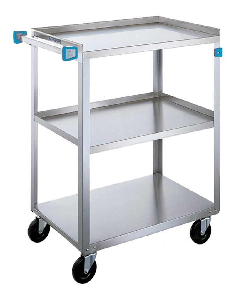 Lakeside 411 Medium Duty Utility Cart, 3 Shelves, Stainless Steel, 500 lb. Capacity, 16-3/4'' x 27-5/8'' x 32''