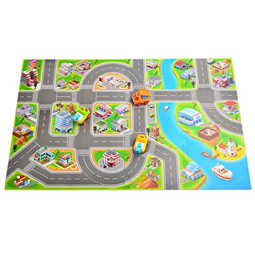 Kids Race Track Rugs Fcoson Carpet Play Mat Town Road Rug with Cars and Toys for Toddlers Boys (Town Play Carpet)